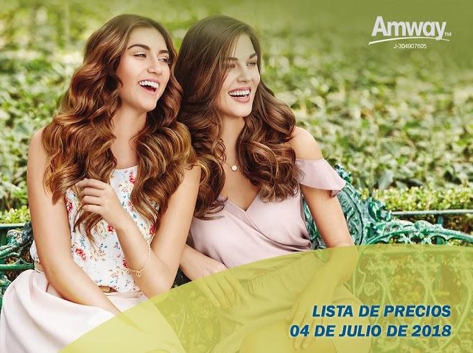 Nueva lista de precios Amway Julio 2018