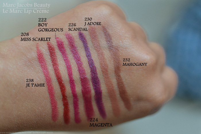 Marc Jacobs Le Marc Lip Creme Lipstick Swatches 214 Georgie Girl 220 Jolly Molly 218 Clara 236 So Sofia 228 Infamous 216 Kiss Kiss Bang Bang 238 Jetamie 208 Miss Scarlet 222 Boy Gorgeous 224 Magenta 226 Scandal 230 Jadore 232 Mahogany 204 Amazing 210 Blow 234 Core Cora 200 Oh Miley 202 Goddess 212 Rei of Light 206 Dashing