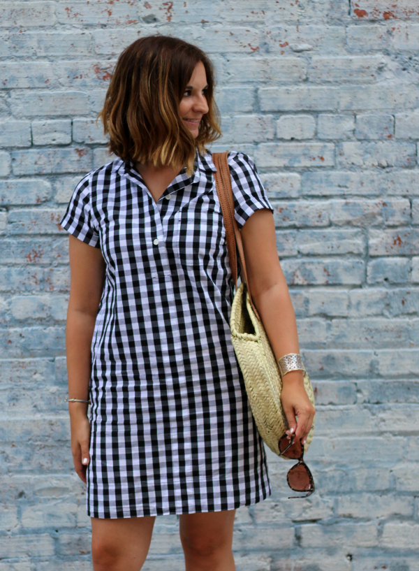 gingham shirt dress, style on a budget, mom style, how to style a straw bag