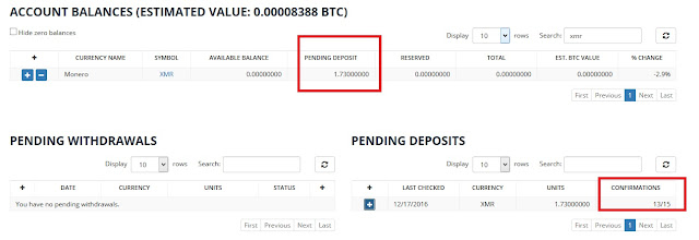 Deposits monero to BIttrex