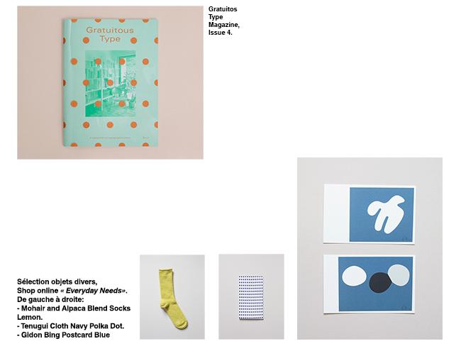 Perimeter Books propose notammment le magazine Gratuitos Type, Sélection de la boutique Everyday Needs