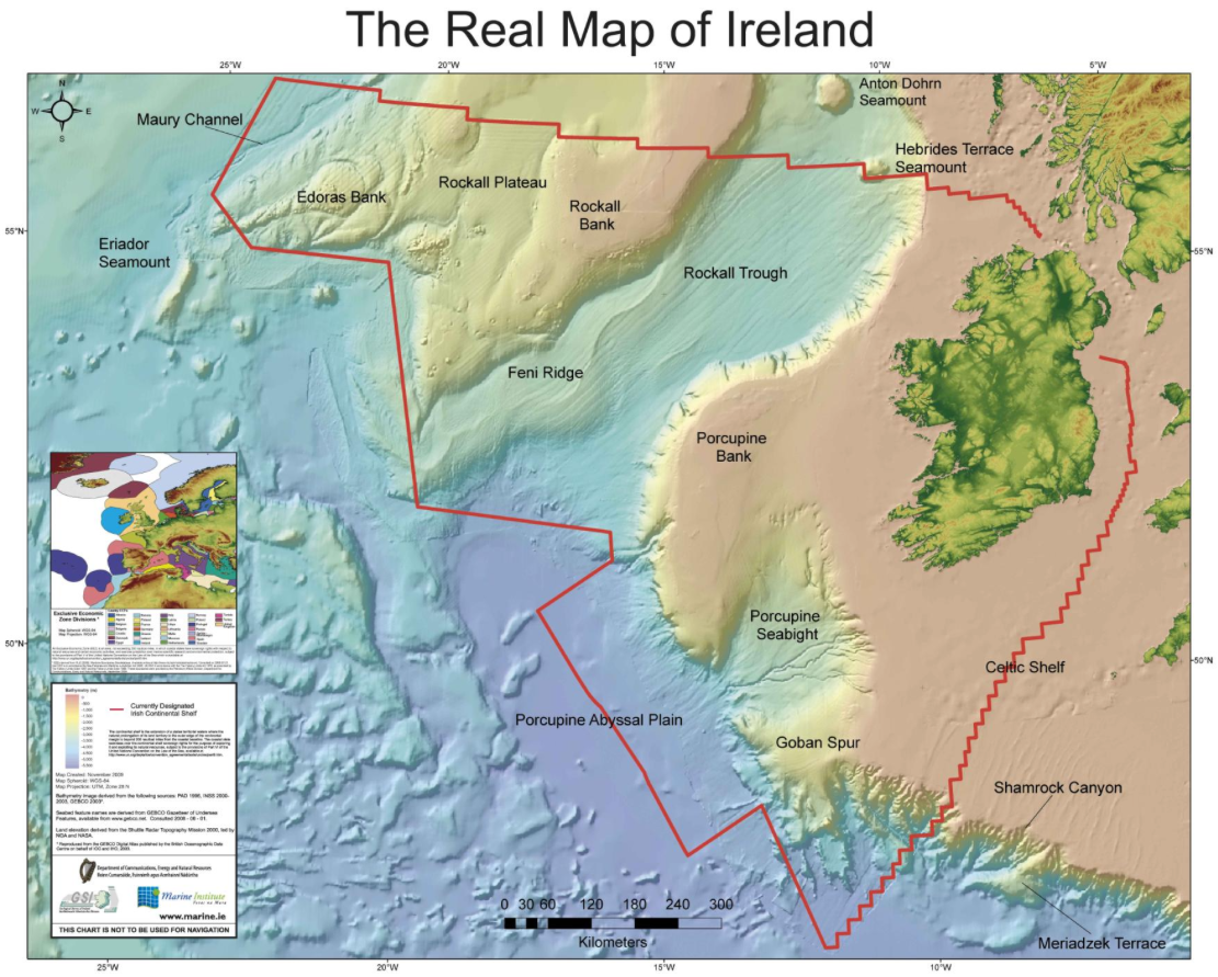 Map Of Ireland Headlands.Geogarage Blog Ireland Measures Up Sea Borders