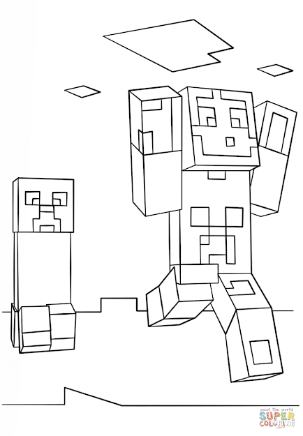 Click The Minecraft Steve And Creeper Coloring Pages To View Printable  Version Or Color It Online Patible With Ipad And Android Tablets