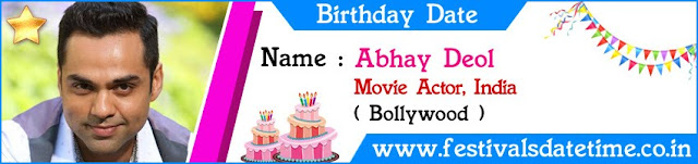 Abhay Deol Birthday Date