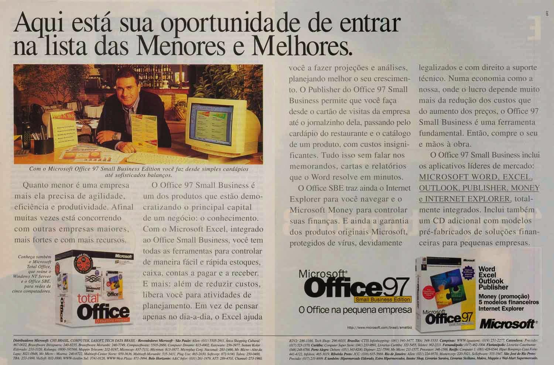 Propaganda da Microsoft para promover a linha Office 97.