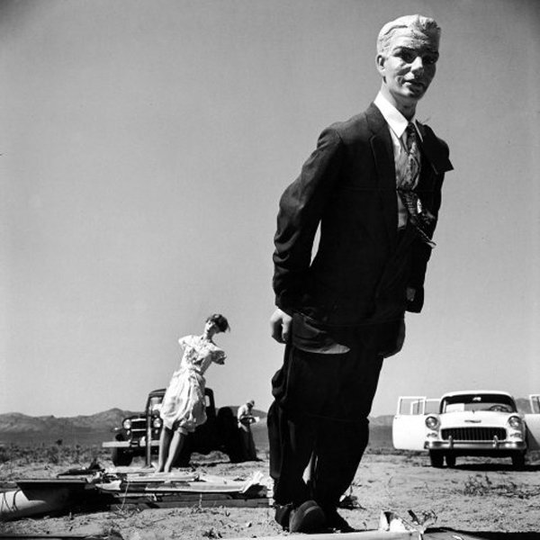 a manninquin from an atomic bomb test site in Nevada during the mid-50s