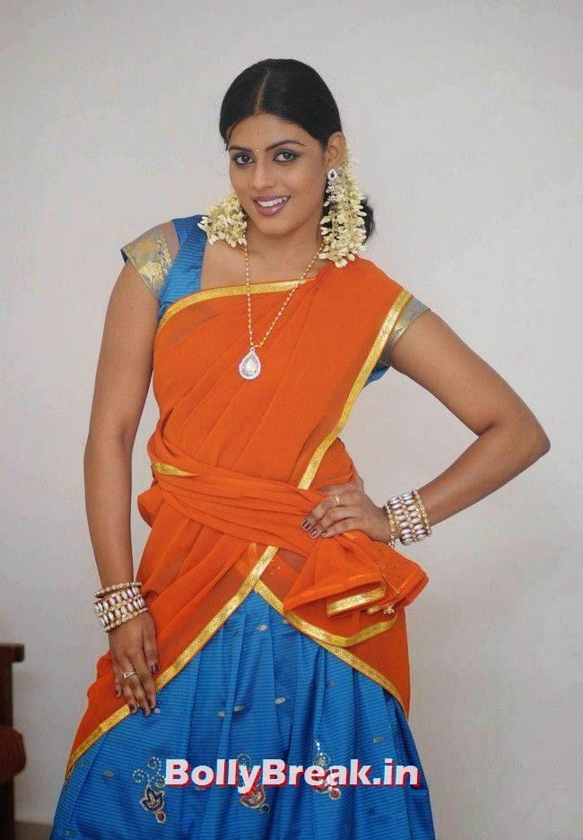 Iniya Stills, Actress Iniya hot Pics in Orange Saree