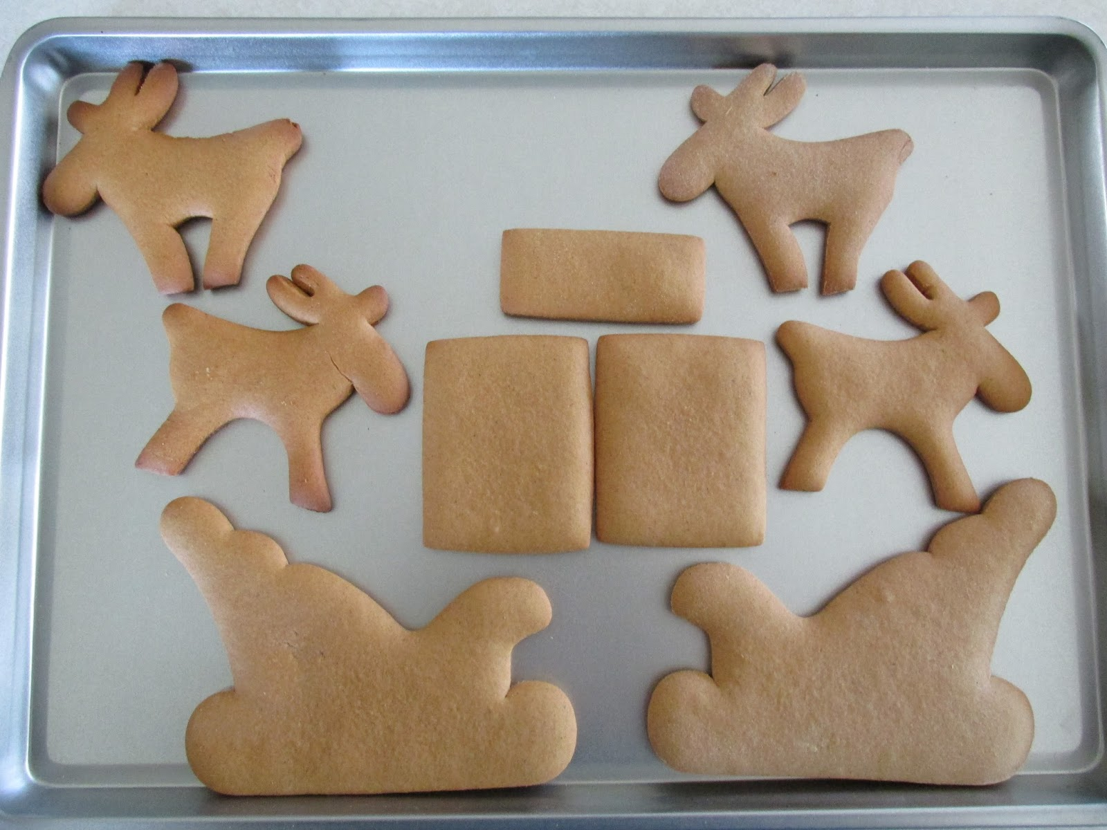 First I Baked All The Pieces Using Recipe Of Hearts 2 Sides Bottom Back Front And Reindeer
