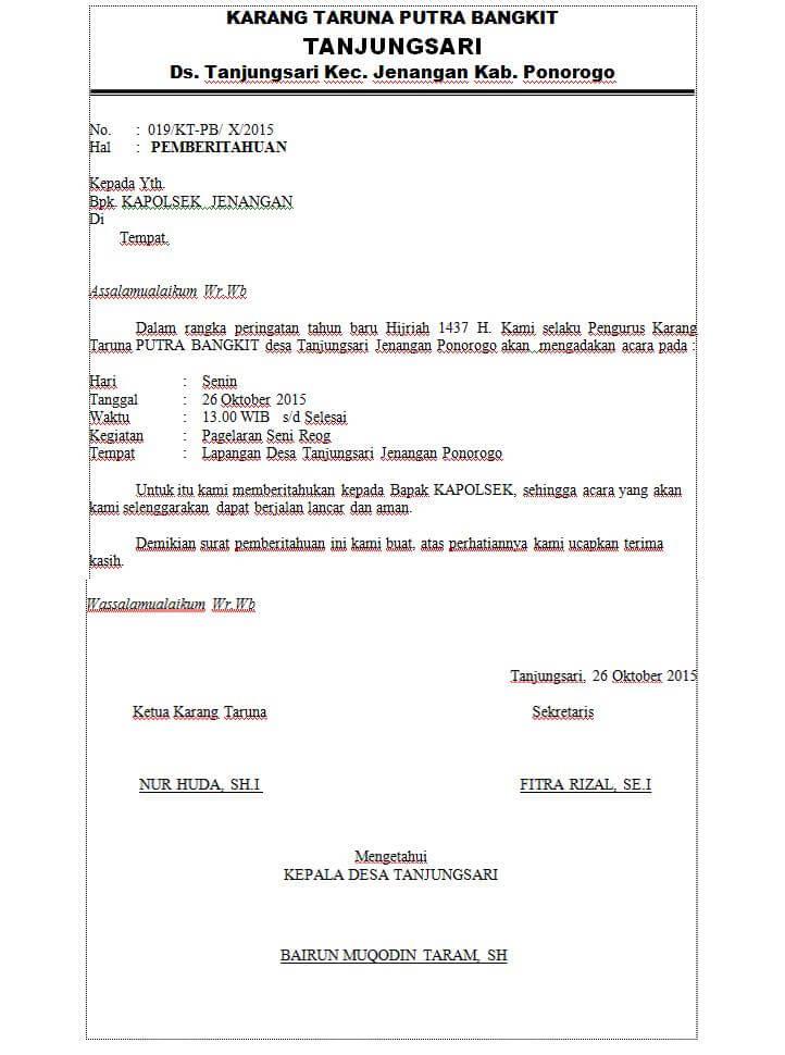 5  contoh surat pemberitahuan kegiatan ke kepolisian