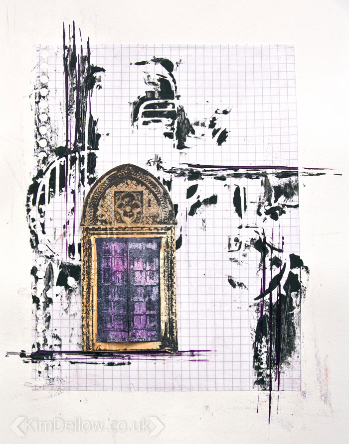 Little Door A grungy but cute interactive Art journal page by Kim Dellow