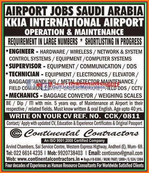 airport jobs  saudi arabia gulf jobs  malayalees
