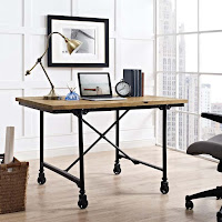 Industrial Desk with Wheels