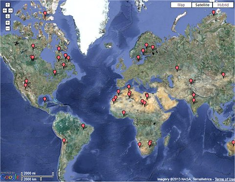 Enlace a mapa interactivo de 50 impactos de asteroides.