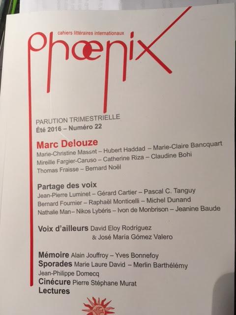 Poemas de David Eloy Rodríguez y José María Gómez Valero en la revista francesa Phoenix