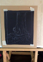 Steps in creating the soft pastel painting of a tree trunk by Artist Manju Panchal