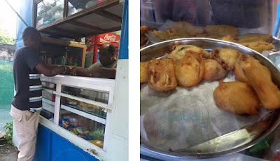 vendeur de beignets de légume à La Preneuse à l'Île Maurice dans le secteur de Rivière Noire