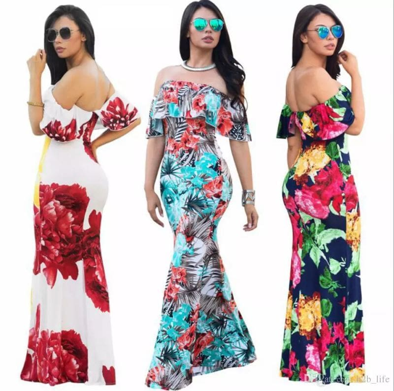 Ruffles Off Shoulder Floral Dress Summer Party Bodycon Dress Short Sleeve Ruffles Boho Dress Casual Dresses 8 Colors