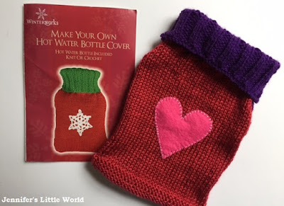 Knitted hot water bottle cover kit
