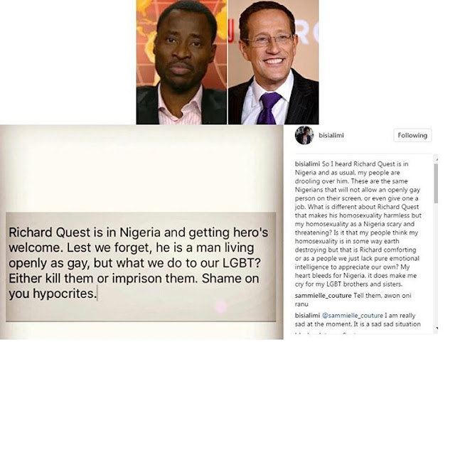 Bisi Alimi slams hypocritical Nigerians for giving openly gay CNN reporter, Richard Quest a heroic welcome