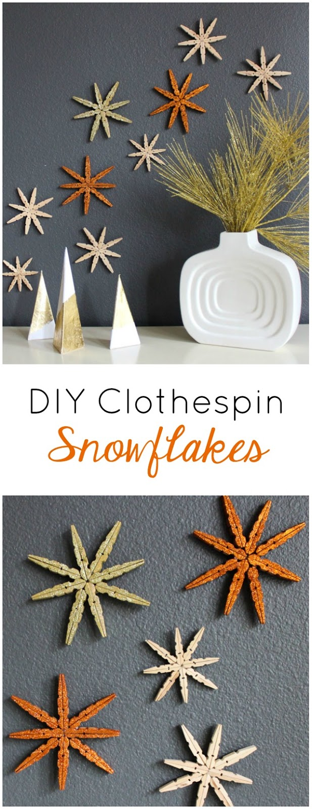 How to make snowflakes from clothespins - so pretty!