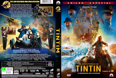 As Aventuras de Tintim - O Segredo do Licorne DVD Capa