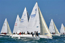 J/80 one-design sailboat fleet- sailing SPI Ouest France regatta