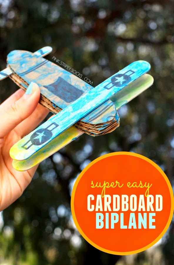 Super easy cardboard and popsicle stick biplanes