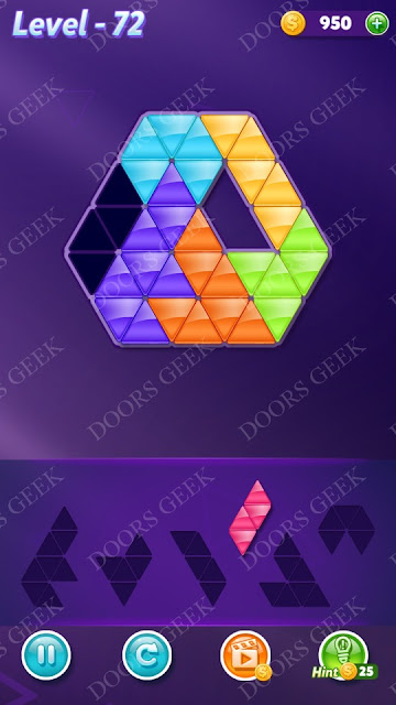 Block! Triangle Puzzle 6 Mania Level 72 Solution, Cheats, Walkthrough for Android, iPhone, iPad and iPod