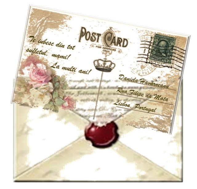 Carte poştală cu trandafiri
