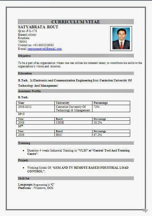 Download Sample Resume Format Free Sample Resume Formats You May Download All These Cv Formats From The Link At The