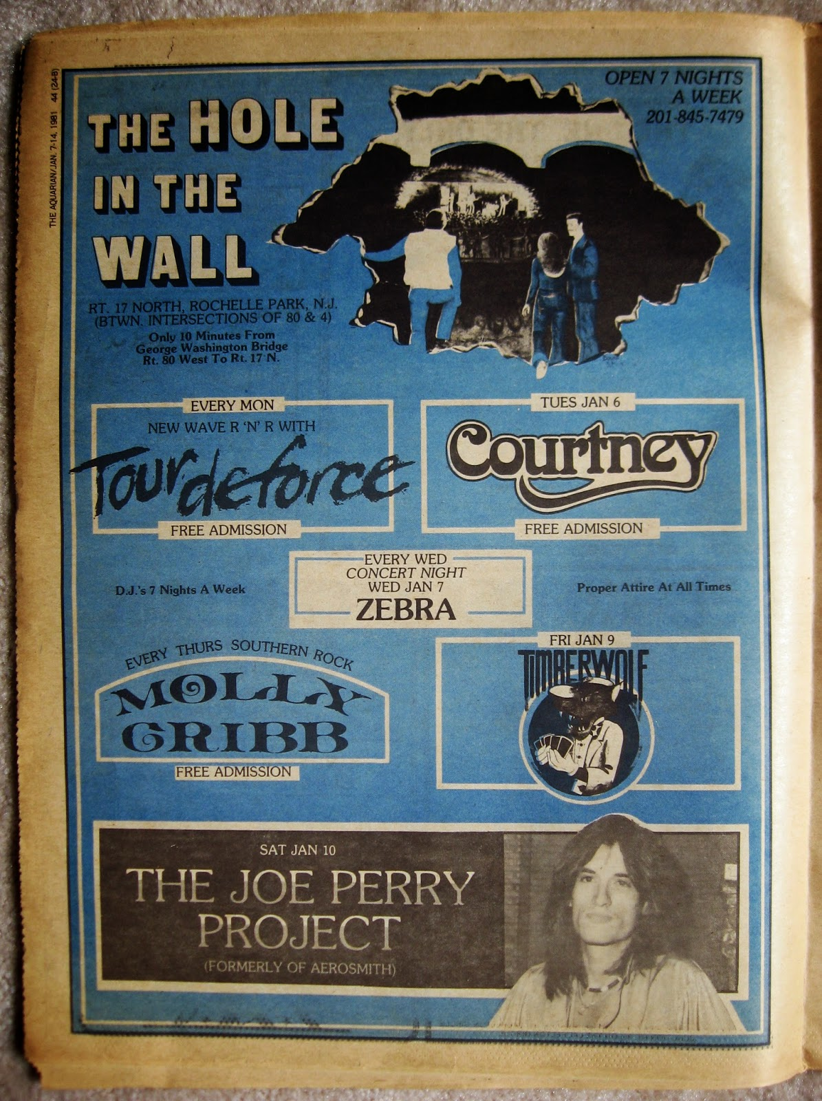 The Hole In The Wall band line up 1981