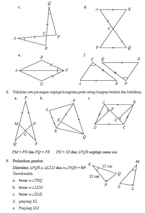 Soal Bab Iv Kekongruenan Dan Kesebangunan Matematika Smp Kelas Ix Kurikulum 2013 Semester 1