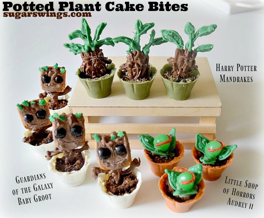 Sugar Swings Serve Some Potted Plant Cake Bites Baby Groot