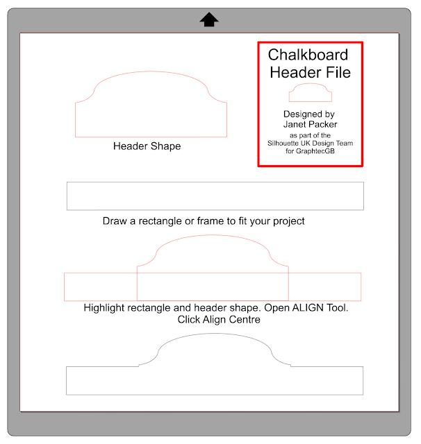 Family Menu Chalkboard by Janet Packer for Silhouette UK.  Make a custom menu board using chalkboard cardstock. with a FREE header shape cutting file.