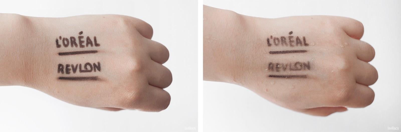 lavlilacs lavlilacs Retractable Eyeliner Comparison Review - L'Oreal Matte-Matic versus Revlon Colorstay swatches