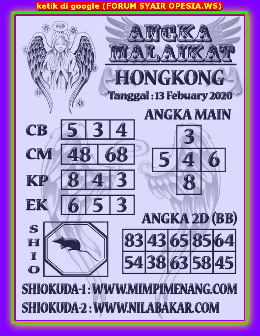 Kode syair Hongkong Kamis 13 Februari 2020 107