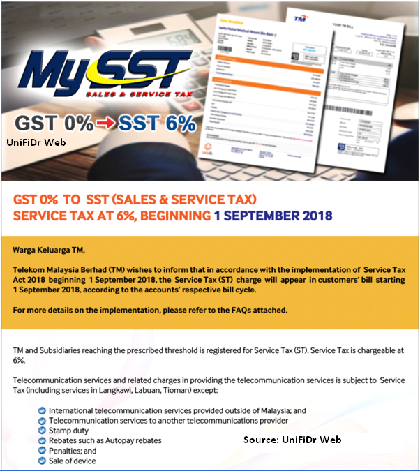 SST implementation on 1 September 2018