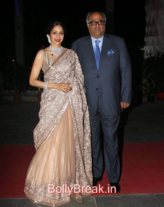 Sridevi, Boney Kapoor, Esha, Sridevi, Jacqueline, Sonali at Tulsi Kumar's wedding Reception