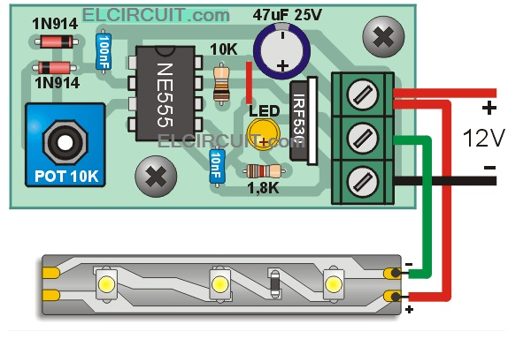 Led Strips Dimmer With 555 Circuit Electronic Circuit