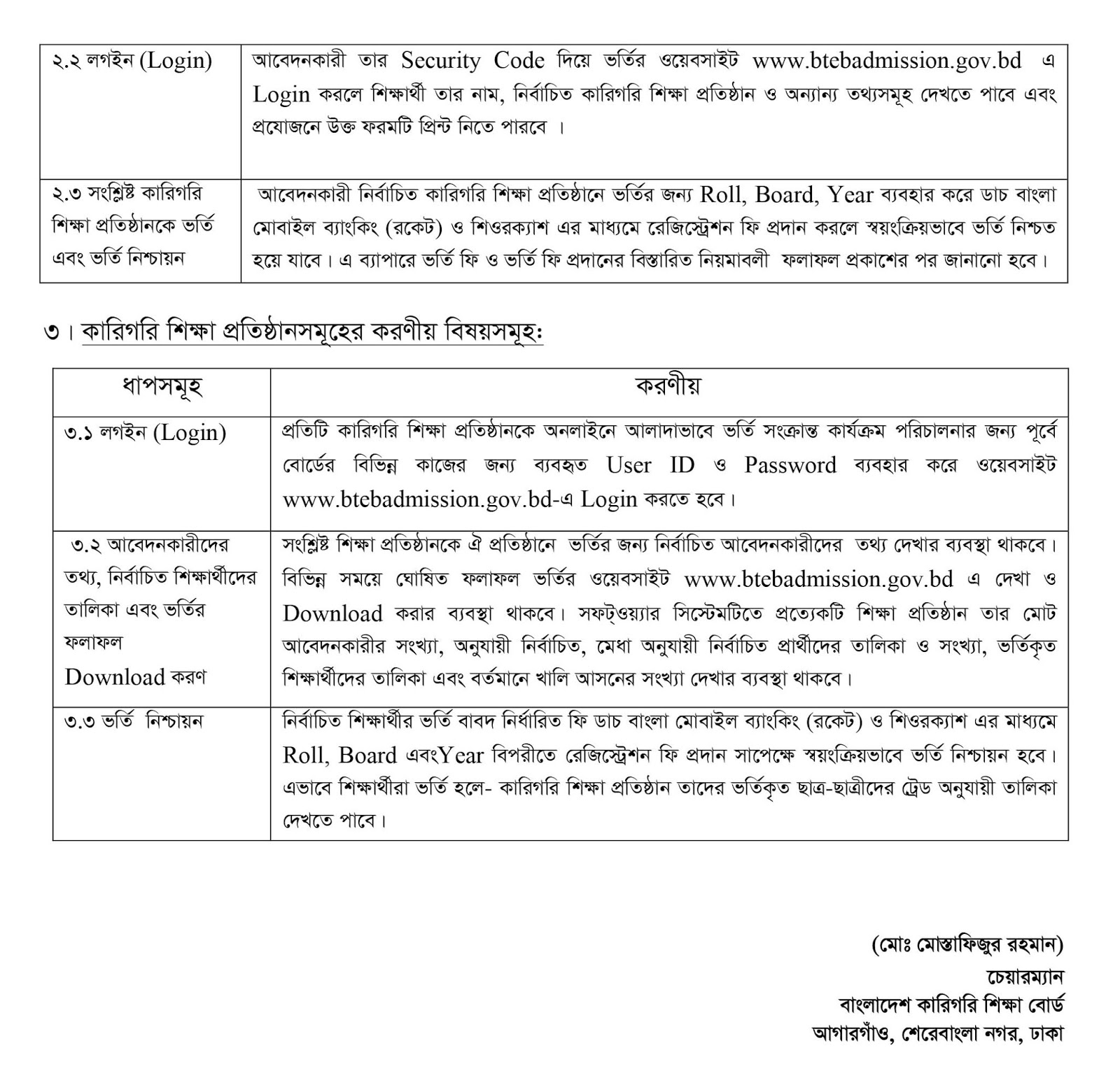BTEB HSC (VOC) and HSC Business Management Admission Circular 2018-19