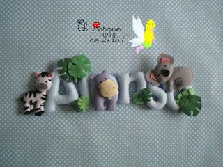 nombre-fieltro-name-banner-Alonso-elbosquedelulu-hechoamanoparati-felt-feltro-fieltro-decoración-infanil-regalo-nacimiento-animalitos
