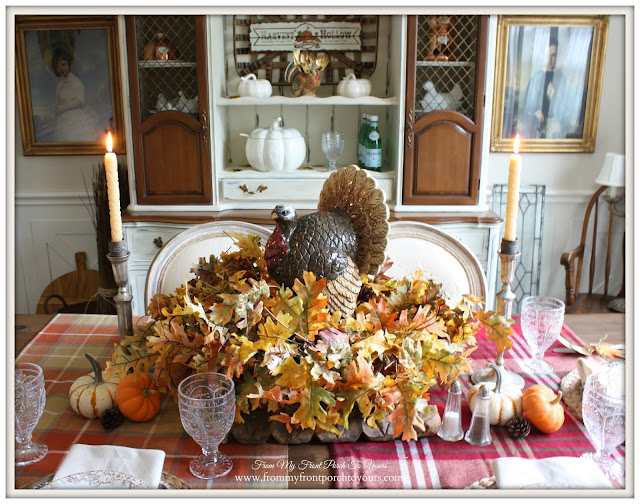 French Country-Thanksgiving-Table Setting-Turkey-Centerpiece-From My Front Porch To Yours