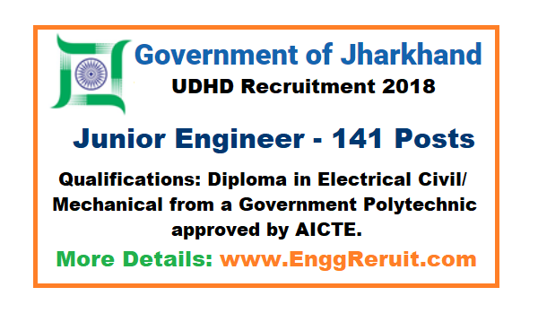 UDHD Recruitment 2018 for Junior Engineer