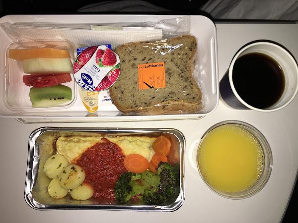 glutenfreies Essen in der Lufthansa Premium Economy Class