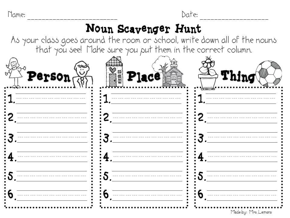 Printables First Grade Noun Worksheets grade noun worksheet scalien first scalien
