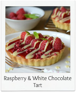 This recipe for raspberry & white chocolate tarts has a white chocolate ganache draped invitingly over the fruit, & the classic flavour combination is finished with a sprinkling of freeze dried raspberries.  They're as delicious as they are aesthetically pleasing.