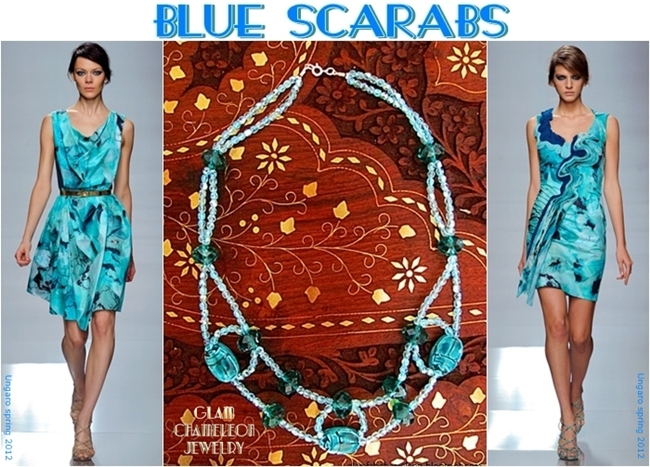Glam Chameleon Jewelry blue scarab blue beads green crystals necklace