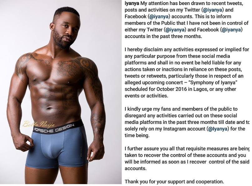 Iyanya says his Twitter and Facebook accounts have been hacked