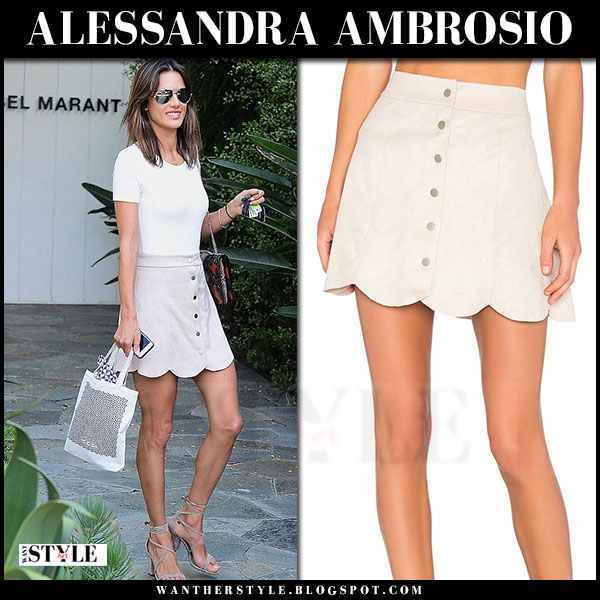 Alessandra Ambrosio in light beige taupe scalloped button mini skirt lovers friends blue moon what she wore