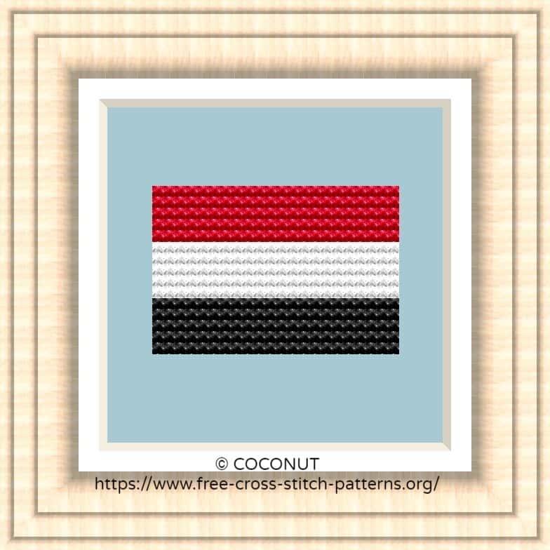 NATIONAL FLAG OF YEMEN CROSS STITCH CHART